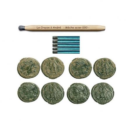 Polierstift mit 6x Ersatzminen (Münzen, Relikte, Abzeichen uvm)
